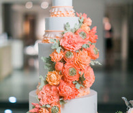 Modern Nautical Wedding Orange and White Cake