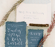 White and blue bohemian calligraphy invitation