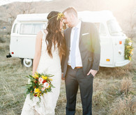 Volkswagen Bus Editorial Vintage Wedding Portrait