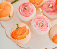Pink and orange floral macaroons