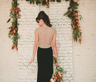 Rustic gold and black wedding dress
