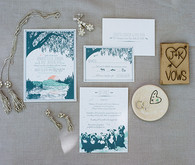Romantic Napa Wedding Blue and White Invitations