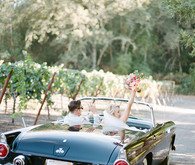 Romantic Outdoor Napa Wedding Getaway Car