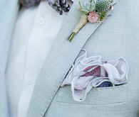 Romantic boutonniere with light blue suit