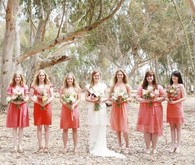 Modern Bohemian Southwestern Wedding Bridesmaids in Coral Dresses