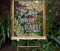 Gold frame with white calligraphy