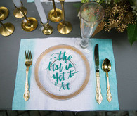 Aqua and gold modern place setting