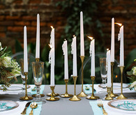 Gold and white candlesticks