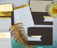 Gold, black and white invitation set