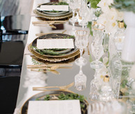 Modern Green and White Wedding Tablescape