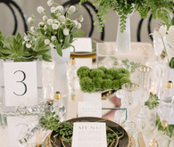Modern Green and White Same Sex Wedding Place Setting
