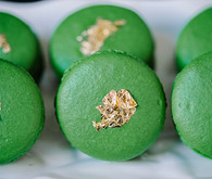Green and gold macarons