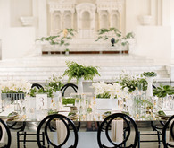 Modern Green and White Tablescape