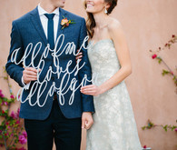 Romantic Mediterranean Wedding Portrait with Signage