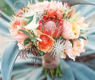 Peach and Coral Wedding Bouquets