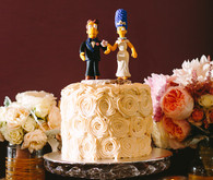 Los Angeles Wedding Cake with Simpson's Topper