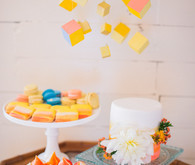 Bright, modern dessert table