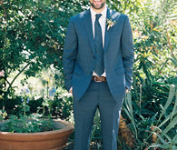 Grey blue grooms suit