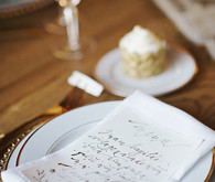 Gold calligraphy menu