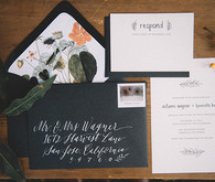 Black and white wedding invitation
