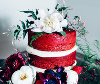 Red velvet naked cake with flowers