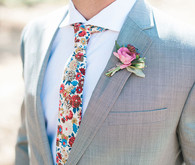 Colorful tie and boutonniere