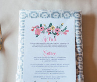 Rustic pink and blue menu