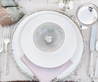 Pastel and silver place setting