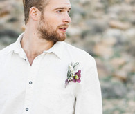 Sunset desert groom portrait