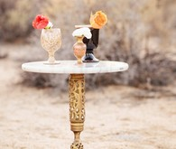 Gold and marble desert table decor