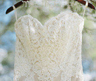 Lace wedding dress on personalized hanger