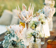 Bohemian glass vases with Pastel proteas