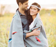 Bohemian ranch sunset portrait with blanket