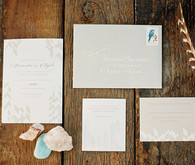 Bohemian ranch inspired beige invitations