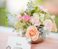 Bride place setting and colorful centerpiece