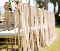 White and pink ribbon chair decor