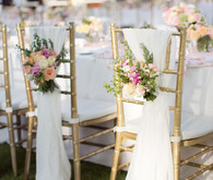 Pink and blush floral chair decor