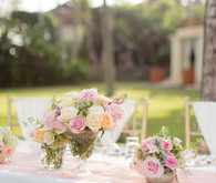 Pink and coral beach tablescape