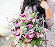 Purple bohemian inspired bouquet