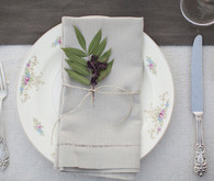 Grey and silver place setting