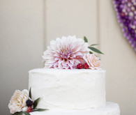 White and light purple wedding cake