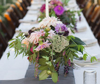 Purple and slate colored tablescape