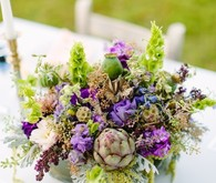 Purple and green centerpiece