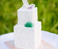 White cube cake with crystal cake topper