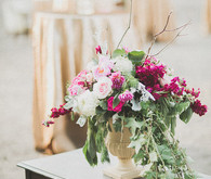 Fuchsia and gold centerpiece