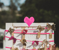 Pink and gold butterfly escort cards