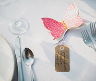 Pink butterfly escort card