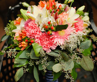 Pink and orange bouquet with navy accents