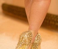 Gold studded shoes