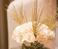 White and gold floral centerpiece